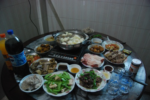 The feast at YongYong's grandparents' house!